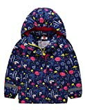 Kinder Mädchen Matsch und Buddeljacke Fleece Wasserdicht Winddicht Regenjacke mit Kapuze, Farbe Mehrfarbig Blau, Size 110