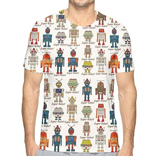 bd528e206e662 3D Printed T Shirts For Mens,Various Different Super Robot Figures Set In  Cartoon Style