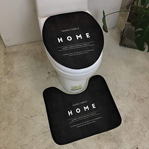 Black Bottom Mat (GFF Long Black Alphabet Toilettendeckel Toilettendeckel Saugnapf Maschinenwaschbar, Toilettendeckel 35 * 45 Black Bottom Letter Toilettendeckel Mat.-Nr.)