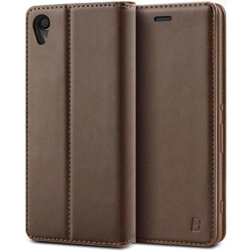 BEZ® Hülle für Sony Xperia XA Hülle, Handyhülle Kompatibel für Sony Xperia XA Tasche, Case Schutzhüllen aus Klappetui mit Kreditkartenhaltern, Ständer, Magnetverschluss - Braun
