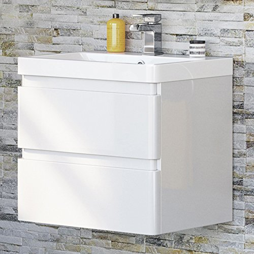 Vanity Sink Unit Ceramic Basin Wall Hung Bathroom Storage Furniture 600mm