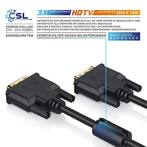 CSL – 2m DVI zu DVI Kabel | Dual Link 24+1 | vergoldete Kontakte | HDTV Auflösungen bis 2560×1600 | 2x Ferritkern | verzinnte OFC Kupferleiter | x.v.Color - 3