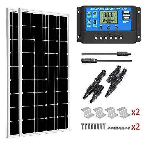 SUNGOLDPOWER Solarpanel Monokristallin Solarmodul 200 Watt 12V:2pcs 100W Monokristallin Solar Panel+20A LCD PWM SolarLaderegler+MC4 Parallel Konnector+2 sets Z Halterung