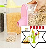 #6: kreative kudie Cereal Dispenser large Jar 2500ml Set of 2 Idle For Kitchen- Storage Box Lid Food Rice Pasta Container(Set of 2,Multicolor).FREE BIRDY FRUIT FORK SET OF 6!!
