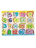 #1: FabSeasons Colorful Wooden Numbers (1-20) Blocks / Puzzle For Kids