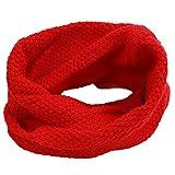 Geschenke Deer Dekor Loop Schal Winter Neck Warmer Gestrickt Schals für Kinder Mädchen Jungen (Rot)