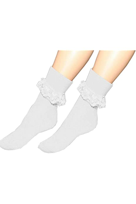 Childrens Girls Ruffled Trim School Socks Pack Of 3