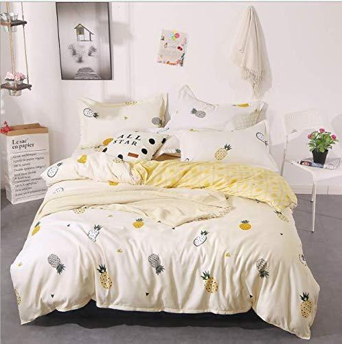 Urlaub Königin Tröster (SHJIA Tröster Bettwäsche-Sets Königin Bettbezug-Set Blumen-Bettwäsche-Set Gelb 180x220cm)