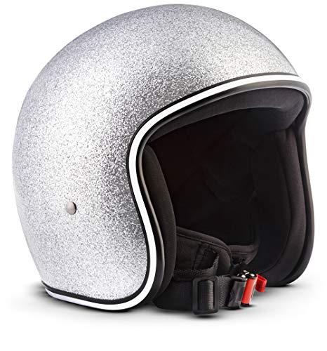 Rebel - R2 FlakeCasque Jet vespa pour moto et scooter - Rétro - Vintage - Avec sac en tissu - En fibre de verre - Super petit et léger- Casque bol - Aérographe parfaitement ajusté