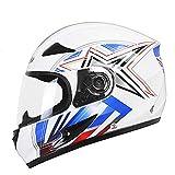 YWLG Motorrad Helm Moto Full Face Retro Roller Helme Motorrad Reithelm Männer Motocross Helm Casco Moto,White(Star)-L59-60cm