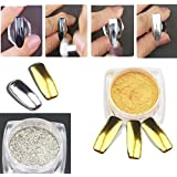Muñeca 2caja Espejo Oro Plata Pigmento de uñas Glitter Nail Art cromo en polvo (Plata + Oro)
