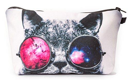 Premium Spacy Cat Katze Allround Tasche Make Up Kosmetiktasche Kulturbeutel Stiftemäppchen Federmappe Reise Geldbeutel Cosmetic Bag