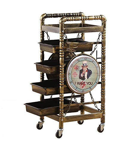Friseurwagen Salon-spezialwerkzeuge Heiß Gefärbtes Retro-fünf schichten-regal Solide Und Stabil Tragfähigkeit 150kg I Want You Muster Aufbewahrungswagen -