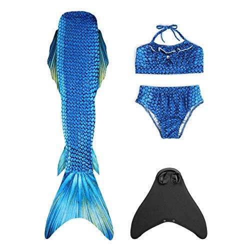 CHIC DIARY Badeanzug Mädchen Meerjungfrau Flosse zum Schwimmen Bademode Monofin Bikini Set für Kinder, 110-140cm Höhe