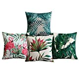 American Pillow Flamingoes and Palm Leaf Modern Art Cotton Linen Pillowcase Comfortable Cushions Decorative Pillows Home Decor Sofa Throw Pillow Case Set of 4 Cushion Cover