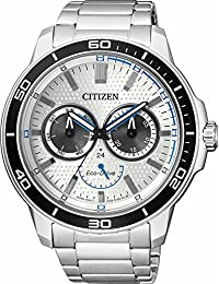 Puma Citizen Men Eco-Drive Silver-Toned Dial Watch BU2040-56A
