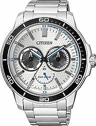Citizen Men Eco-Drive Silver-Toned Dial Watch BU2040-56A