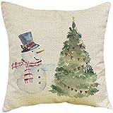 Kissenbezüge Longra Weihnachten Schneemann drucken färben Sofa Bett Home Decor Fall Kissen Kissenbezug (A)