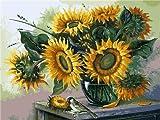 RunFar Malen Nach Zahlen Erwachsene Sonnenblume Muster DIY Vorgedruckt Leinwand Ölgemälde Geburstag- Weihnachtengeschenk 40*50CM