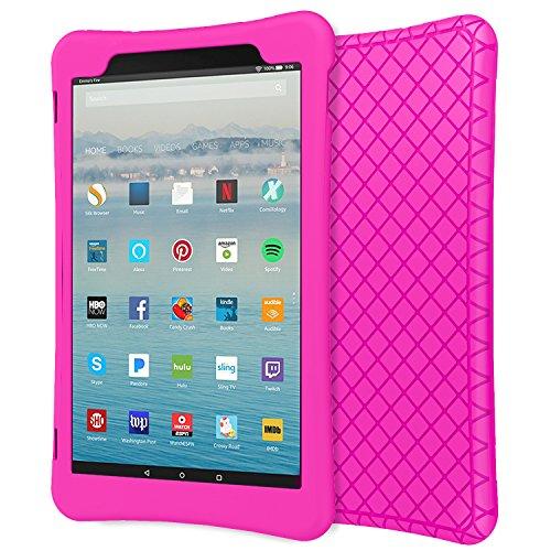 MoKo Hülle Fire HD 10 Tablet (7th Gen.- 2017 Modell) - [Honey Comb Series] Leichte Rutschfeste Stoßfeste Silikon Schutzhülle Protector Case für All-New Amazon Fire HD 10,1 Zoll, Magenta