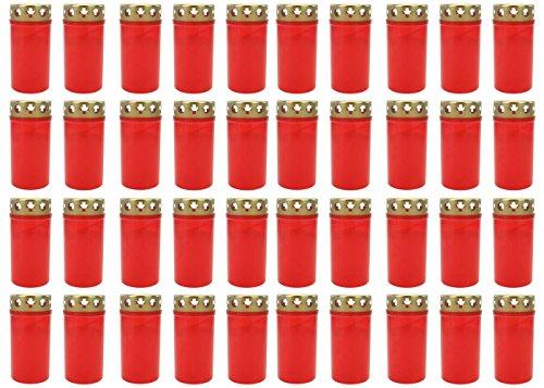 Grablicht Brenner Nr. 3 rot mit Deckel | Grabkerzen | Friedhofskerzen | Grablichtkerze | Trauerlicht | Gedenkkerze | Grabdekoration | Grabdeko (40er Pack)