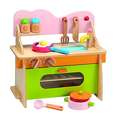 Wooden Kitchen Childrens Playset Cooking Role Play Set.