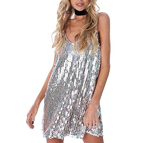 Kleider Leuchtendes Kleid Frauen Deep V Halter Strap Night Shop Rock , silver white , (Kleidung Womens Tag St Patricks)
