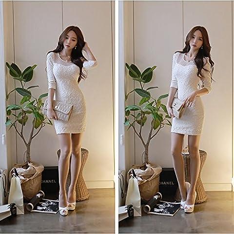 Spritech (TM) Mujer Sexy Elegante Otoño Encaje Bodycon Base de vestido de manga larga de mujer, Blanco, Size:XL