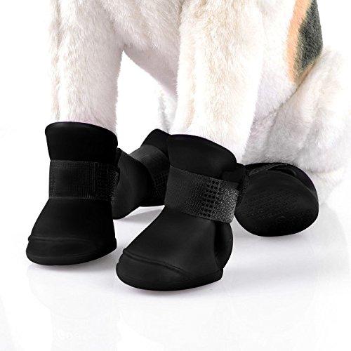 4pcs Wasserdichte und Anti-Rutsch Hundeschuhe Haustier Schuhe Hundeschuhe Gummi Hunde Regen Stiefel für Regenwetter