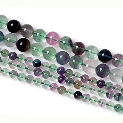 6 mm 8 mm 10 mm 12 mm pierre précieuse naturelle Perles rond Coloré Perles de Fluorite Mèche pour fabrication de bijoux, 8MM