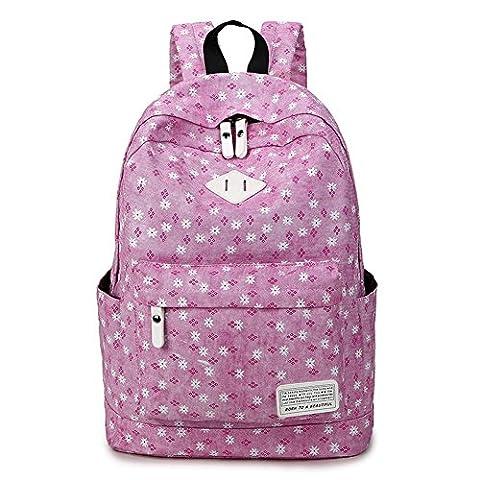 Qearly Fashion Maedchen Canvas Rucksack Schulrucksack Schultasche Casual Daypacks Cityrucksack-Dunkel (Oilily Kindertasche)
