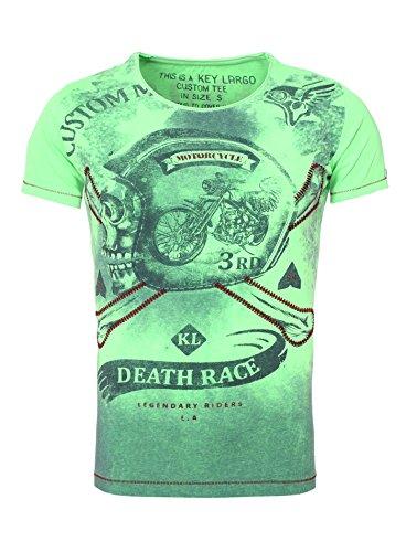 Key Largo Herren T-Shirt CUSTOM Vintage Look Slim Fit Schnitt Rundhals Biker Motorrad Totenkopf verwaschen bedruckt Sommershirt Printshirt Frontprint Grün