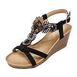 YOUJIA Frauen Casual Peep-Toe Schnalle Schuhe Römische Sandalen Mit Keilabsatz