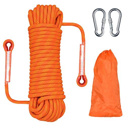 HHOOMY Outdoor-Kletterseil, Hochfestes Seil mit 10.5mm Durchmesser Sicherheitsseil Geflecht Nylon Seil, Länge 20m Fluchtseil Rettungsfallschirmseil mit 2 Karabinern, Orange