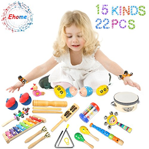 Ehome Toddler Musical Instruments - 15 Types 22pcs Wooden Percussion Instruments Toy for Kids Preschool Educational, Musical Toys Set for Boys and Girls with Storage Backpack.