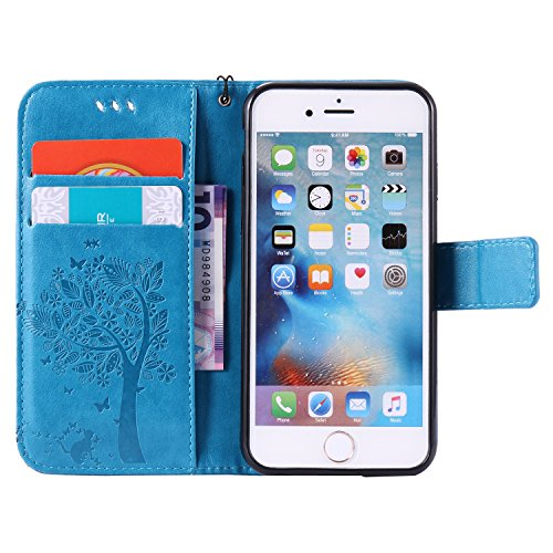 iPhone 6 Hülle, iPhone 6S Ledertasche - Felfy Flip Style Luxe Bookstyle Tasche Case Kasten 3D Reliefdruck Stilvolle Kreismuster Muster Design Muster Premium Tasche Geldbeutel Folio PU Leder Mappen Mag Katze Blau