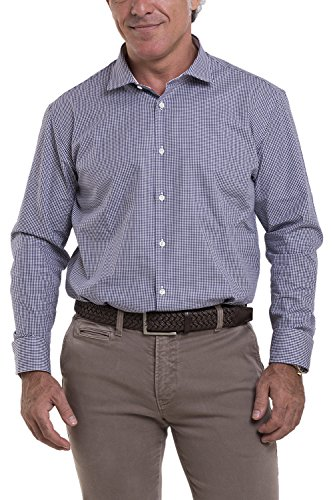 Atelier boldetti - camicia uomo a quadretti piccoli, slimfit color blu navy, taglia: xxl