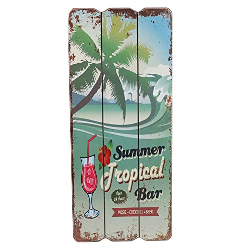 Tropical Bar Wandschild MDF Wanddeko Schild Strand Urlaub Welcome Türschild Coctails Beer Keller Dekoschild 34x15 cm (Tropical Bar) ()