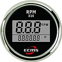 –Tacómetro digital 0–9900U/min con hora Contador, negro y cromado