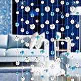 Candora 1 Meters Glass Crystal Clear Beaded Curtain Acrylic Divider String Curtain Home Living Room Bedroom Decor Decoration Wedding Doorways Window Door Beauty Decorative Panel Room Fly Screen Blind Tassel (Blue)