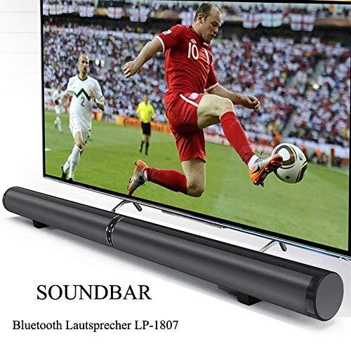 Qsportpeak LP-1807 Bluetooth Soundbar, Drahtloser Bluetooth-Lautsprecher, Vom Kanal Abnehmbarer, separierbarer Soundbar, für Heimkino,Unterstützung für RCA/AUX / HDMI ARC-Modus(Schwarz, EU-Stecker)