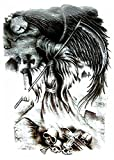 #7: Generic Unisex Temporary 3D Reaper Sticker Tattoo, 21x15cm (Black) - 1 Piece