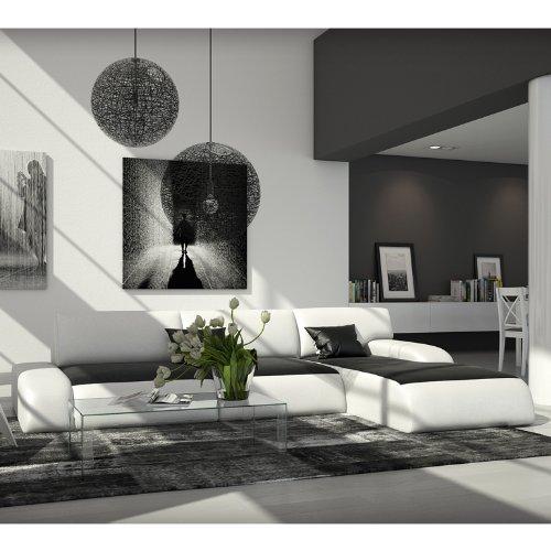 Modernes Eck-Sofa aus Kunstleder in schwarz / weiß 280x220 cm L-Form mit Recamiere rechts | Relas-L | Sofa-Garnitur mit edlem Kunstleder | Polster-Couch für Wohnzimmer schwarz / weiss 280 x 220cm -