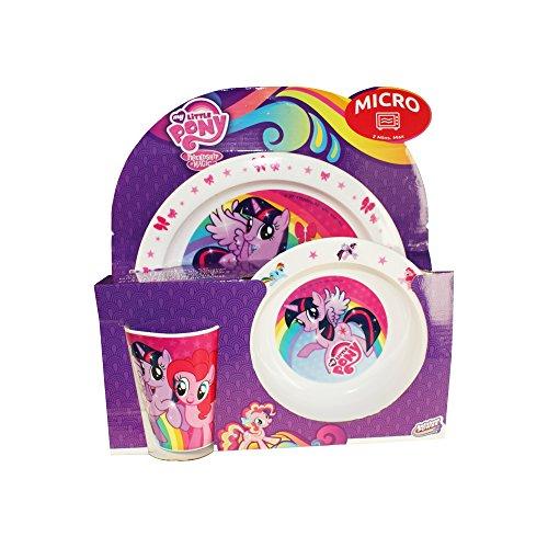 Hasbro MLP My Little Pony Kinder-Geschirr Set mit Teller, Müslischale und Trinkbecher aus Kunststoff