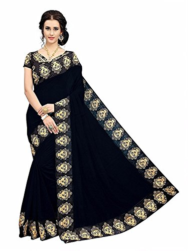 Indian Beauty Women's Chanderi Cotton Print Border With Blouse Saree (black)
