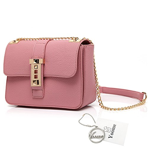 Yoome Elegante Lichee Borsa a tracolla modello per il portafoglio di nozze Borsa a tracolla per le donne - Rosso Rosa