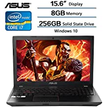 """ASUS 15.6 Inch Gaming Laptop, 15.6"""" FHD Glossy Display, Intel Core I7-7700HQ Processor (up To 3.8GHz), 8GB Memory, 256GB Solid State Drive, NVIDIA GeForce GTX 1050 2GB GDDR5, Windows 10"""