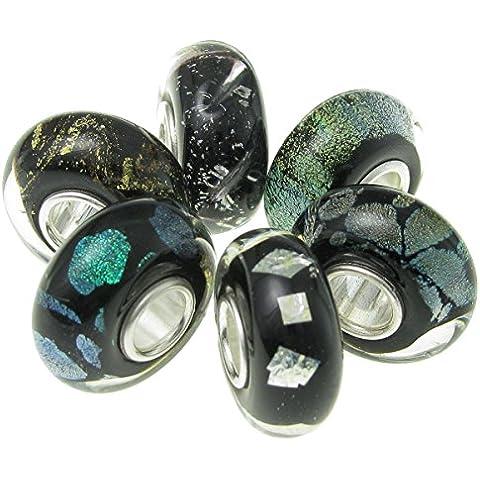 Argento Sterling 9256Pezzi Assortiti In Bundle Nero Arcobaleno Rotondo Perle di Vetro per europea Charm