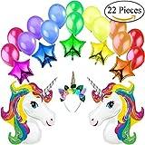 Unicorno Kit Decorazione Multicolore Festa di Compleanno-2 Unicorni Giganti Arcobaleno, 5 Palloncini a Stelle, 1 Diadema/Cerchietto per Capelli a Unicorno e 14 Palloncini Perlati