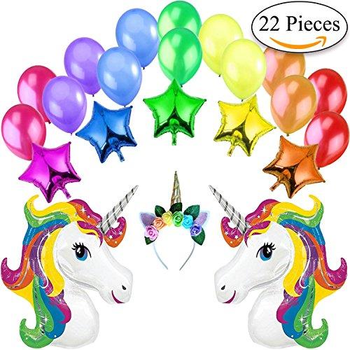 (Jonami Einhorn Mehrfarben Party Dekoration Kit 2 XXL Regenbogen Einhörner Luftballons, 5 Sterne Folienballons, 1 Einhorn Stirnband mit Blumen, 14 Große Perlen Latex Ballons. Deko Ideen für Mädchen)